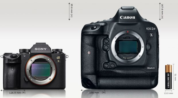 Sony Alpha A9 is 20% (31.1 mm) narrower and 43% (72 mm) shorter than Canon EOS-1D X Mark II. Sony Alpha A9 is 24% (19.6 mm) thinner than Canon EOS-1D X Mark II. Sony Alpha A9 [673 g] weights 56% (857 grams) less than Canon EOS-1D X Mark II [1530 g]