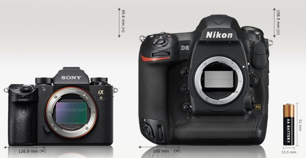Sony Alpha A9 is 21% (33.1 mm) narrower and 40% (62.9 mm) shorter than Nikon D5. Sony Alpha A9 is 32% (29 mm) thinner than Nikon D5. Sony Alpha A9 [673 g] weights 52% (732 grams) less than Nikon D5 [1405 g] (*inc. batteries and memory card).