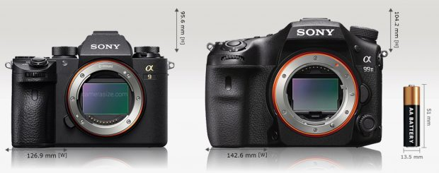 Sony Alpha A9 is 11% (15.7 mm) narrower and 8% (8.6 mm) shorter than Sony A99 II. Sony Alpha A9 is 17% (13.1 mm) thinner than Sony A99 II. Sony Alpha A9 [673 g] weights 21% (176 grams) less than Sony A99 II [849 g]
