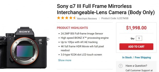 sony a7 iii in stock fc