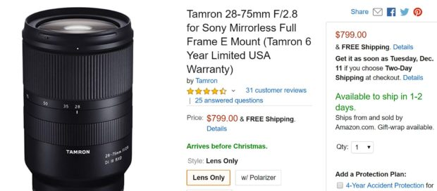 tamron 28 75mm f 2 8 fe lens in stock tracker sony rumors