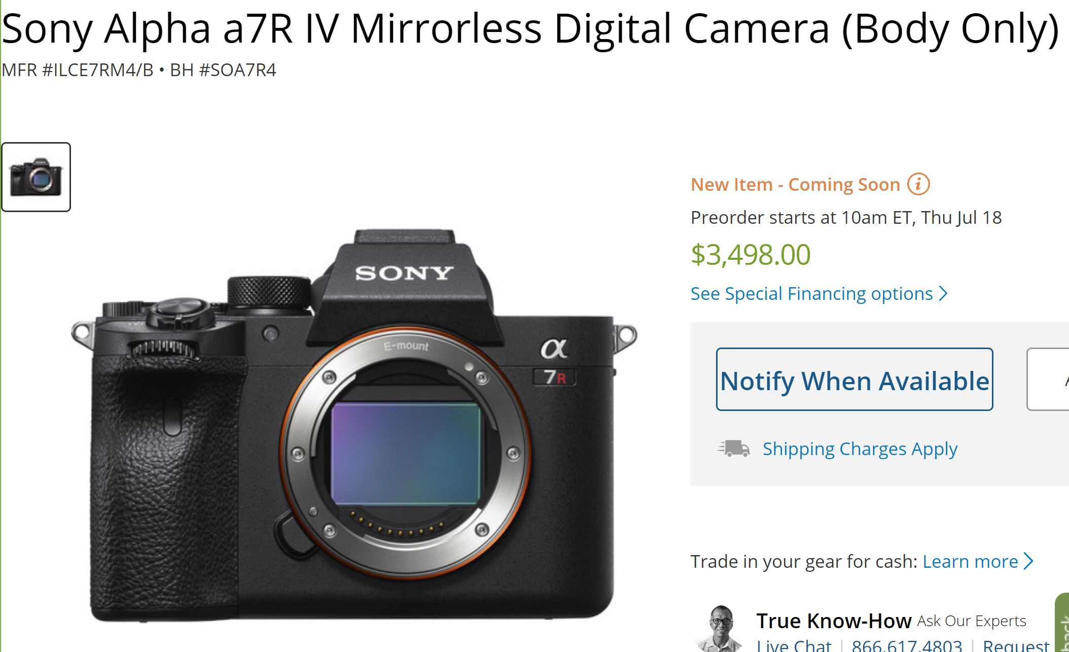 Sony a7R IV Announced, Price $3,498, Release Date in