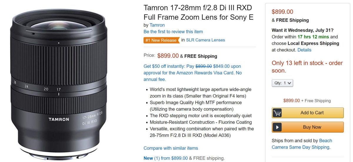 Tamron 17-28mm f/2.8 Di III RXD FE Lens now Back In Stock at Amazon !
