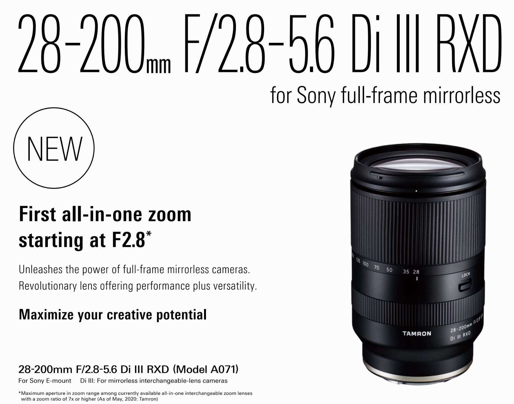 Tamron 28-200mm f/2.8-5.6 Di III RXD Lens Features & Specs Leaked ...
